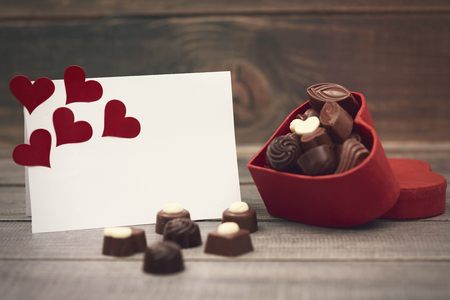 red box: Chocolate box and a greeting card