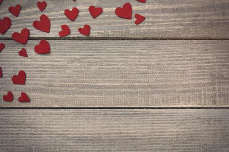 hearts: Felt hearts in the corner Stock Photo