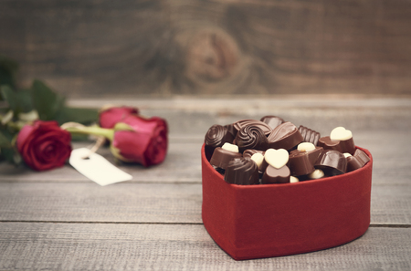 valentine's day: Chocolate box in the foreground