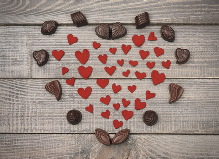 valentines: Chocolate composition filled with textile hearts
