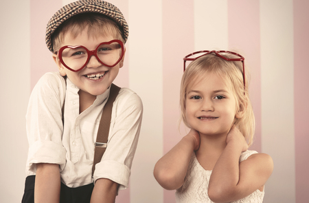 glasses eye: Kids wearing heart shape glasses