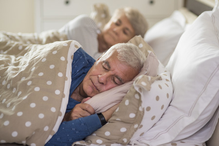 Calm facial expression of sleeping senior marriage