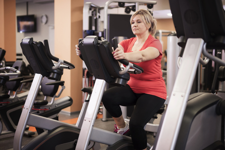 focus: Gym time for mature woman