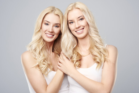natural beauty: Natural beauty of blonde twins Stock Photo