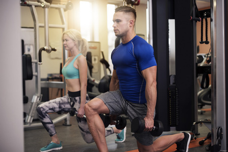 buttock: Lunge is a good buttock exercise Stock Photo