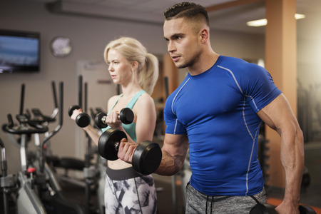 adequate: Everyone lifts weights adequate to possibilities Stock Photo