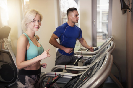 Heterosexual couple at the gym