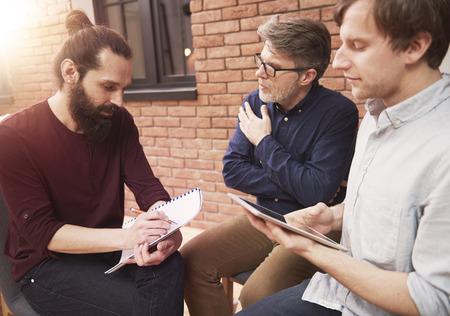 analyze: Creative businessmen with new intrestiving ideas