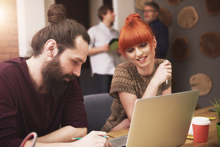 group of workers: Stylish people Working at the office Stock Photo