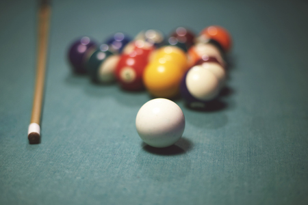 pool table: Pool table with pool equipment Stock Photo