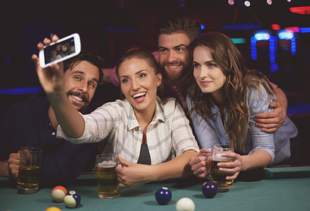 snooker table: Selfie over the snooker table