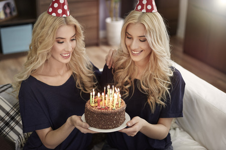 special day: Special day for blonde twins Stock Photo