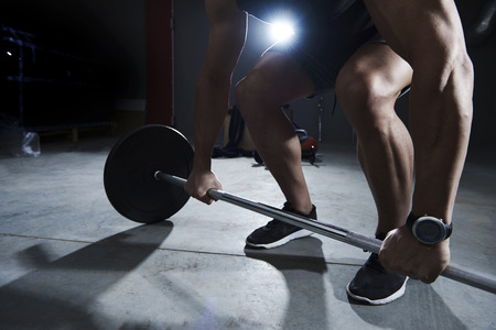 man gym: Dead lift made by athlete man