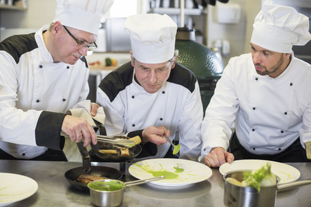 restaurant dining: The last part of preparing meals Stock Photo