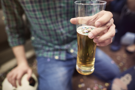 sip: Sip of beer for the success Stock Photo