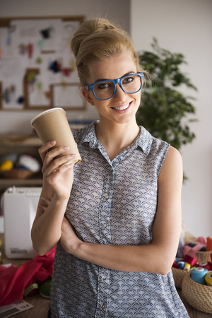 woman young: Portrait of beautiful and creative tailor Stock Photo