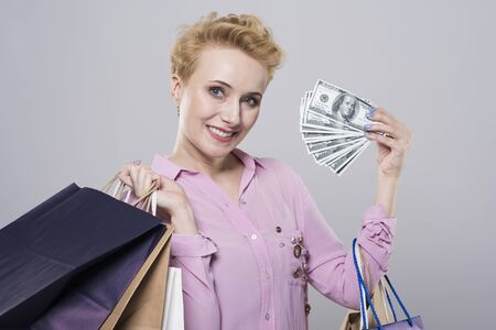 spent: Money spent on the purchase Stock Photo