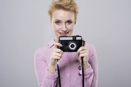 say cheese: Three two one and say cheese! Stock Photo