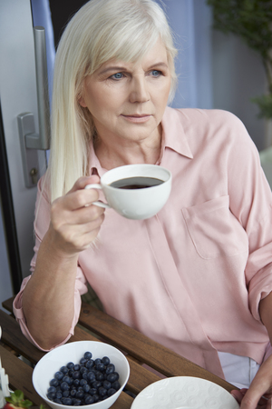one senior woman only: Coffee and fresh seasonal fruits