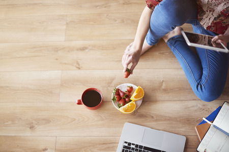 healthy snack: Small and healthy snack at work Stock Photo