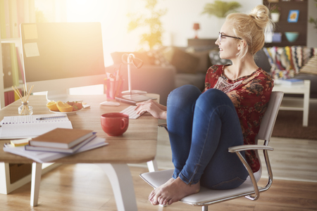 working at home: Freelancer working at home interior