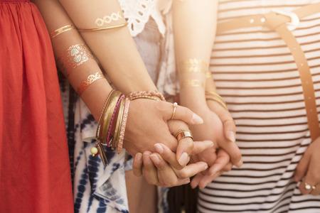 女の子の間で友情パワー 写真素材