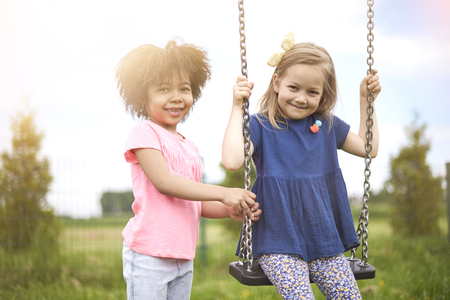 only girls: The best friends at the playground