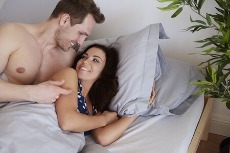 arousal: Pleasant morning of young couple Stock Photo