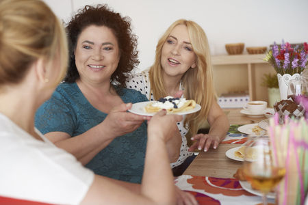 mature women: Delicious meal with best friends