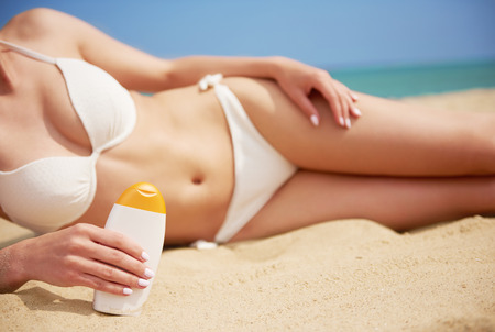 lower section view: Body ready for beach sunbathing Stock Photo