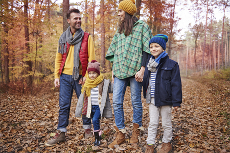 affectionate action: Autumn is the best season for walk  Stock Photo