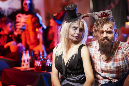 dressing up costume: Spooky couple at the party Stock Photo