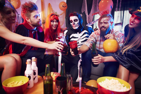 alcohol drinks: Alcohol drinks at halloween party Stock Photo
