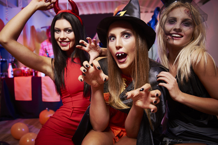 Three girls at the halloween party