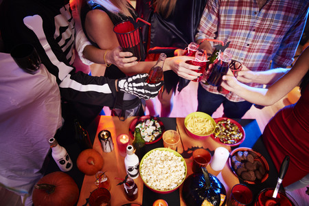 party night: High angle view at halloween table