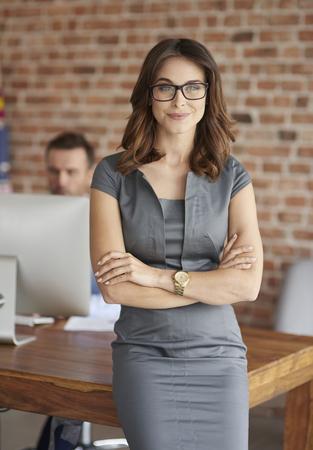 Portrait of woman in her office Foto de archivo