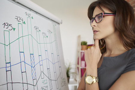 busy person: Woman checking recent company results