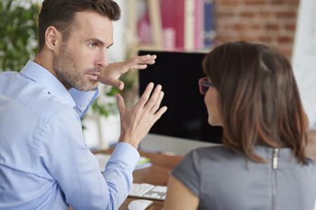 hair problem: Creative work of business people Stock Photo
