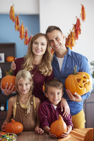 Portrait of cheerful family during halloween