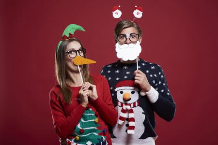 Bizarre couple in Christmas time Standard-Bild