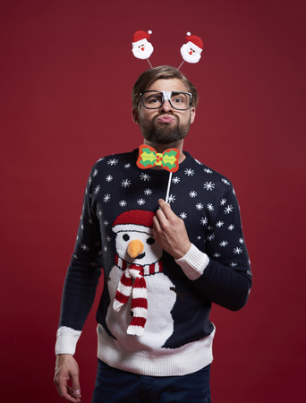 Funny man in Christmas time