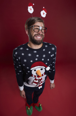 unfashionable: Cute nerd man in Christmas