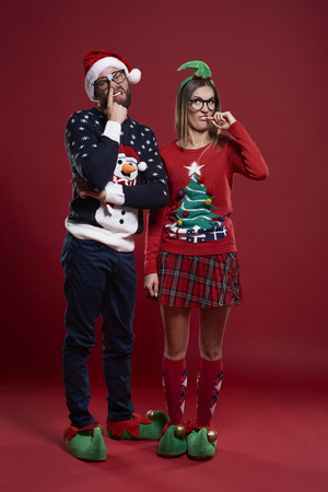 unfashionable: Young couple making funny faces