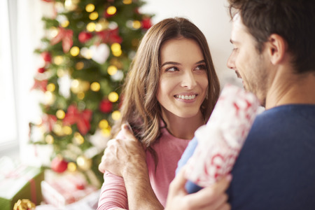 giving back: Couple spending Christmas together at home