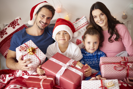 christmas time: Portrait of loving family in Christmas time