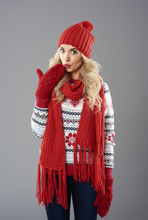 woman sweater: Beautiful woman with surprised face expression Stock Photo
