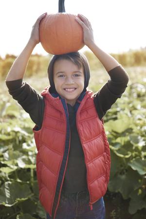 funny boy: Funny boy holding pumpkin in the field