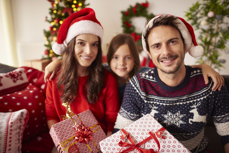 happy christmas: Portrait of happy family at Christmas
