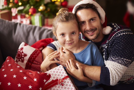 christmas spending: Father and daughter spending Christmas together Stock Photo