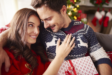 Loving couple spending Christmas together